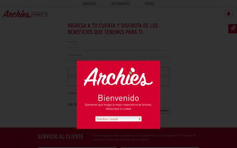 Screenshot of Login Page archies.co - index - captured Oct. 4, 2018