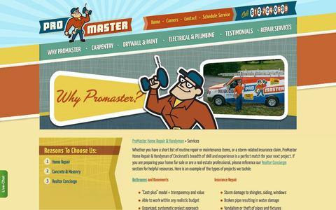 Screenshot of Services Page mastermylist.com - Home Projects | ProMaster Cincinnati (513) 322-2914 - captured Oct. 3, 2014