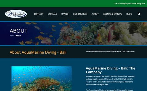 Screenshot of About Page aquamarinediving.com - AquaMarine Diving - Bali / Bali Dive Shop / Bali Dive Centre - captured June 12, 2019