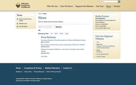 Screenshot of Press Page wfhealthcare.org - News - Wheaton Franciscan Healthcare - captured Oct. 7, 2014