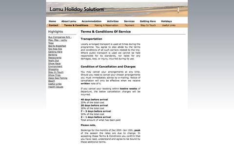 Screenshot of Terms Page lamuholidaysolutions.com - Terms & Conditions - In Accepting These Terms & Conditions You Confirm That You Have Read, Understand And Agree To Be Bound By These Additional Terms. - Lamu Holiday Solutions - captured Oct. 27, 2014