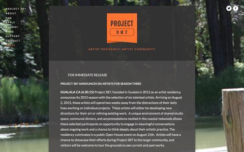 Screenshot of Press Page project387.com - PRESS Ń PROJECT 387 - captured Dec. 13, 2015