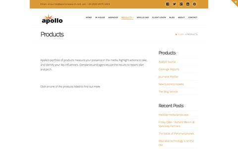 Screenshot of Products Page apolloresearch.com - Products   Apollo Research - captured Sept. 30, 2014