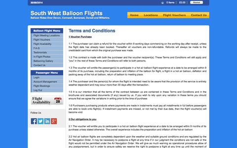 Screenshot of Terms Page southwestballoonflights.co.uk - Terms and Conditions - captured Sept. 30, 2014