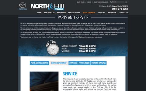 Screenshot of Services Page northhillmazda.com - Mazda service in Calgary | Maintenance and repairs | North Hill Mazda - captured Oct. 26, 2017
