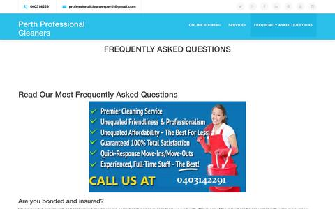 Screenshot of FAQ Page perthprofessionalcleaners.com.au - Frequently Asked Questions - captured July 12, 2016
