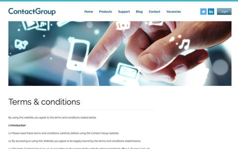 Screenshot of Terms Page the-contactgroup.com - Terms & conditions - Contact Group - captured Sept. 29, 2018