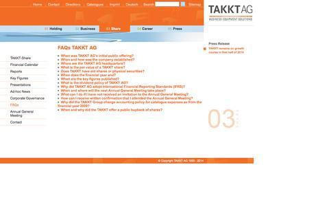 Screenshot of FAQ Page takkt.de - TAKKT AG - FAQs - captured Sept. 23, 2014