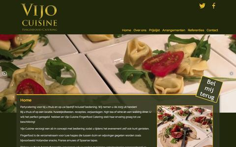 Screenshot of Home Page vijocuisine.nl - Vijo Cuisine fingerfood catering - captured Feb. 14, 2016