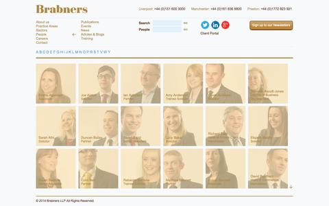 Screenshot of Team Page brabners.com - People | Lawyers in Liverpool, Manchester and Preston | UK Law Firm | Brabners Solicitors - captured Sept. 30, 2014