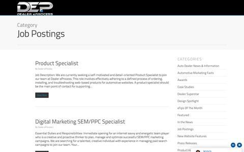 Screenshot of Jobs Page dealereprocess.com - Job Postings - Dealer eProcess - captured June 22, 2018