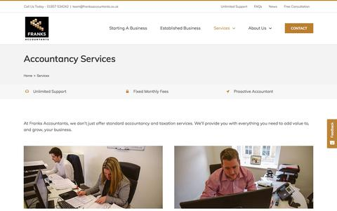 Screenshot of Services Page franksaccountants.co.uk - Accountancy Services | Tax Advisors - Franks Accountants - captured Oct. 14, 2017