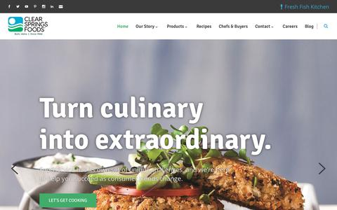 Screenshot of Home Page clearsprings.com - Clear Springs Food - captured Sept. 28, 2018