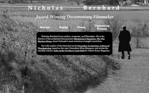 Screenshot of Home Page ndhfilms.com - Nicholas Bernhard: Documentary Filmmaker - captured Oct. 19, 2018