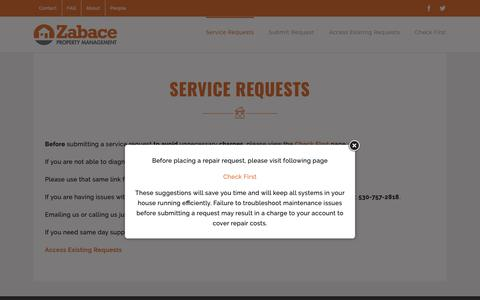 Screenshot of Support Page zabace.com - Service Request | Zabace Property Management - captured Oct. 20, 2018