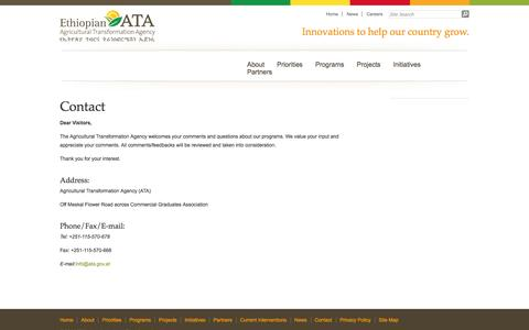 Screenshot of Contact Page ata.gov.et - Contact « Ethiopian Agricultural Transformation Agency - captured Oct. 2, 2014