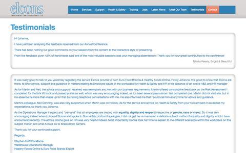 Screenshot of Testimonials Page elcons.co.uk - Testimonials | Elcons - Employment Law Consultants, Halifax - captured Oct. 2, 2014
