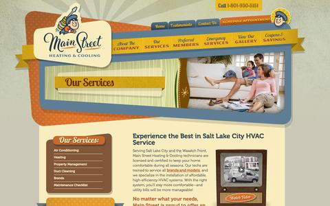 Screenshot of Services Page mainstreetcomfort.com - Commercial & Residential HVAC Services Salt Lake City | Mainstreet Heating & Cooling - captured Oct. 4, 2014