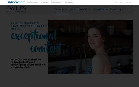 Screenshot of Products Page dailies.com - DAILIES® Products & Types of Contact Lenses | Dailies.com - captured Oct. 22, 2018