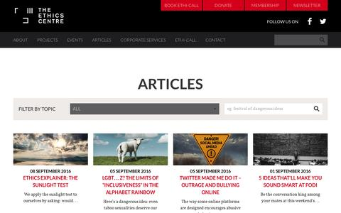 Screenshot of Blog ethics.org.au - The Ethics Centre - The Ethics Centre Blog - captured Sept. 11, 2016