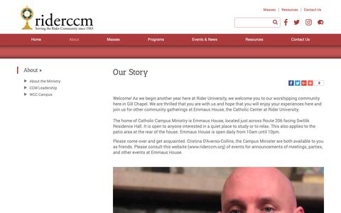 Screenshot of About Page riderccm.org - Our Story - Rider University CCM - Lawrenceville, NJ - captured Sept. 27, 2018