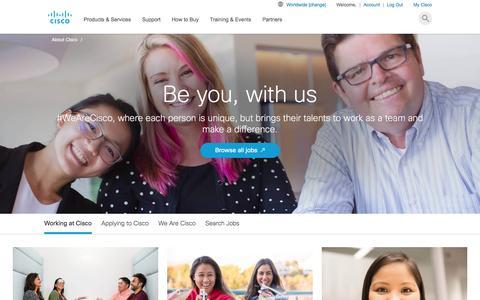 Screenshot of Jobs Page cisco.com - Cisco Careers | Join the #WeAreCisco Tribe - Cisco - captured Feb. 27, 2017
