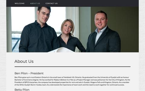 Screenshot of About Page bpedevelopment.com - About Us - Responsible, caring property development in Kingston, Ontario - captured Aug. 1, 2018