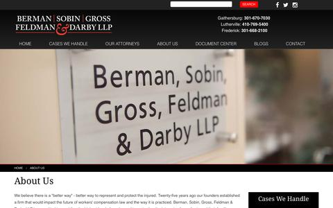 Screenshot of About Page bsgfdlaw.com - Workers' Compensation Law Firm – Berman, Sobin, Gross, Feldman & Darby LLP - captured Nov. 22, 2016