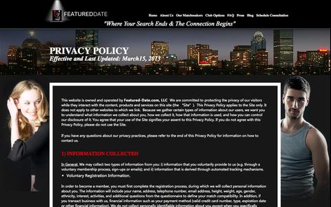 "Screenshot of Privacy Page featureddate.com - Privacy Policy - FeaturedDate® Matchmaking Agency ""Where Your Search Ends & The Connection Begins "" - captured Oct. 5, 2014"
