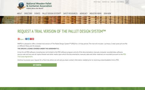 Screenshot of Trial Page palletcentral.com - Request a Trial Version of The Pallet Design System™ - National Wooden Pallet and Container Association - captured Oct. 19, 2018