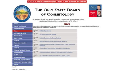 Screenshot of Press Page ohio.gov - Ohio State Board of Cosmetology - News - captured Sept. 18, 2014