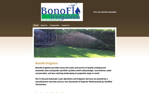 Screenshot of Home Page bonoflo.ca - Automatic In Ground Lawn Sprinkler Systems - Home - captured Oct. 6, 2018