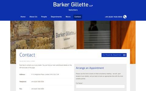Screenshot of Contact Page barkergillette.com - Contact Barker Gillette - captured Nov. 3, 2014