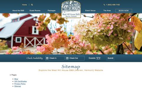 Screenshot of Site Map Page westhillbb.com - Sitemap - West Hill House B&B (Warren, Vermont) Website - captured Oct. 20, 2017