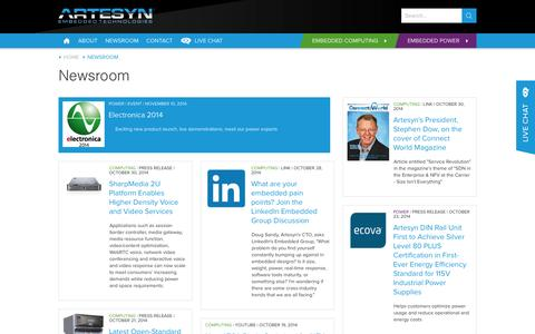 Screenshot of Press Page artesyn.com - Artesyn Embedded Technologies   Newsroom from Artesyn Embedded Technologies - captured Nov. 2, 2014