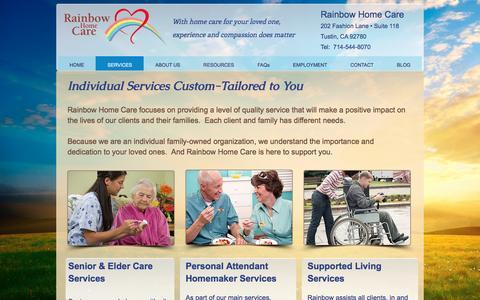 Screenshot of Services Page rainbowhomecare.com - Home Health Services - captured Dec. 19, 2016