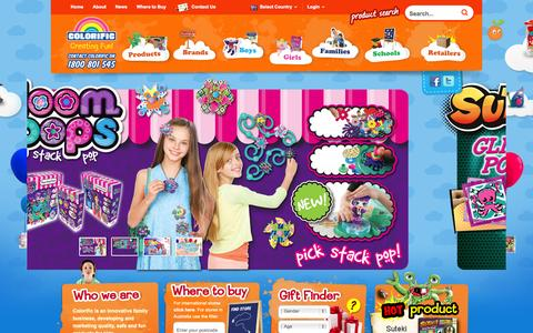 Screenshot of Home Page colorific.com.au - Craft Kits, Preschool Toys, Bulk Craft, Educational Toys, Girls Accessories, Nursery Equipment, Children's Furniture - captured Sept. 30, 2014