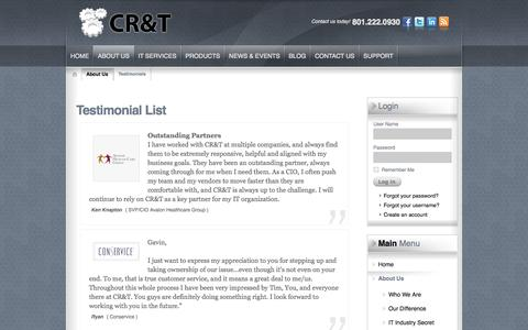 Screenshot of Testimonials Page cr-t.com - Testimonials | Salt Lake City, Northern Utah | CR&T Calculated Research & Technology - captured Oct. 22, 2014