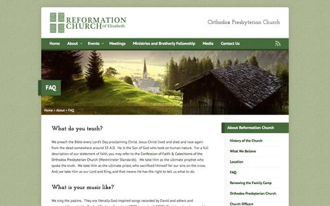 Screenshot of FAQ Page reformationchurch.com - FAQ - Reformation Church of Elizabeth - captured Oct. 9, 2014