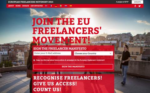 Screenshot of Home Page freelancers-europe.org - Freelancers Europe | Building a movement for freelancers - captured Sept. 25, 2014