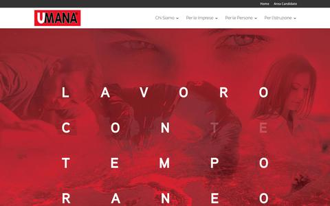 Screenshot of Home Page umana.it - UMANA - Agenzia per il Lavoro - captured Sept. 23, 2018