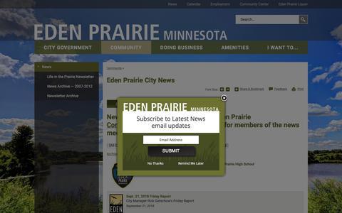 Screenshot of Press Page edenprairie.org - Eden Prairie City News | City of Eden Prairie - captured Sept. 23, 2018