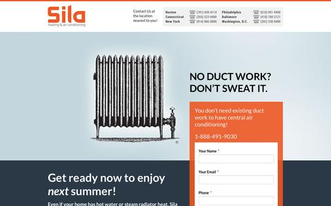 Screenshot of Landing Page sila.com - High Velocity Air Conditioning - No Ductwork Required! - captured Oct. 27, 2014