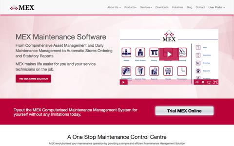 Screenshot of Home Page mex.com.au - Maintenance Software, Maintenance Management, CMMS | Home | MEX - captured Oct. 5, 2017