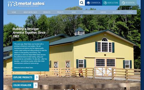Screenshot of Home Page metalsales.us.com - Metal Sales Manufacturing Corporation | Metal Roofing, Siding and Wall Panels - captured Oct. 17, 2018