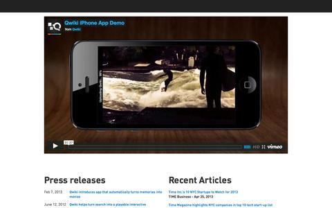 Screenshot of Press Page qwiki.com - Press : Qwiki - captured Sept. 17, 2014