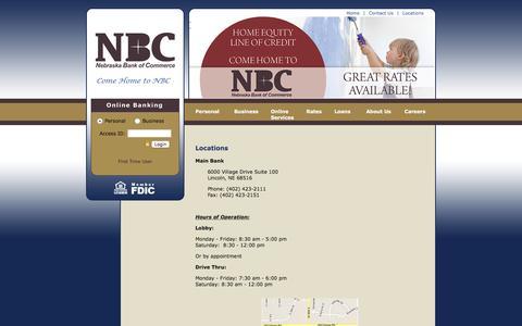 Screenshot of Locations Page thenbcbank.com - The Nebraska Bank of Commerce - Locations - captured Feb. 25, 2016