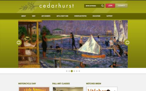 Screenshot of Home Page cedarhurst.org - Cedarhurst Center for the Arts - captured Sept. 20, 2015