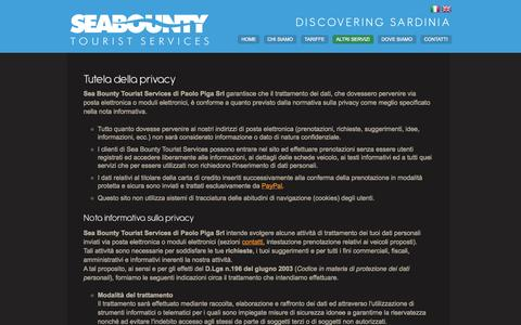 Screenshot of Privacy Page seabounty.it - Sea Bounty Tourist Services     - Tutela della Privacy - captured Oct. 26, 2014
