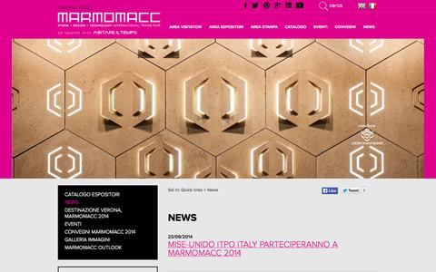 Screenshot of Press Page marmomacc.com - Elenco News - Marmomacc - captured Oct. 29, 2014